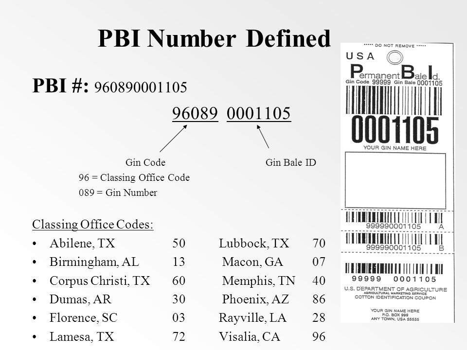 PBI Number Defined PBI #: 960890001105 96089 0001105