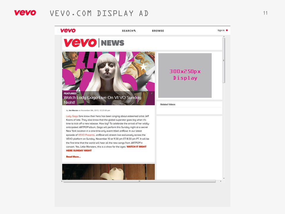 VEVO.COM DISPLAY AD 300x250px Display