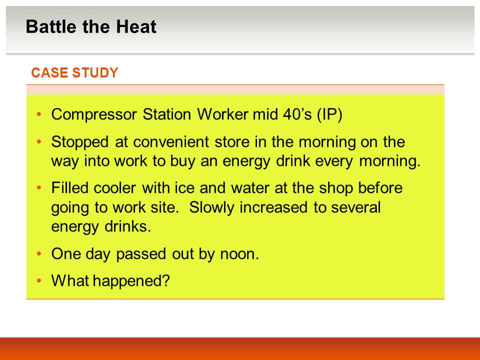 Battle the Heat Compressor Station Worker mid 40's (IP)