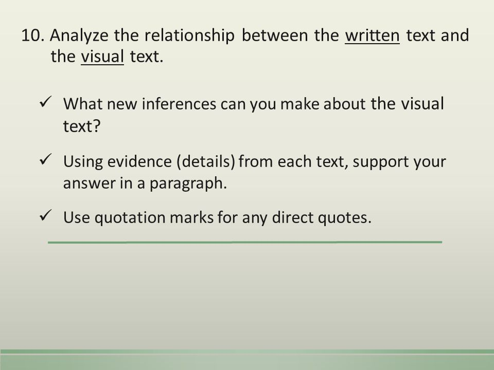 10. Analyze the relationship between the written text and the visual text.