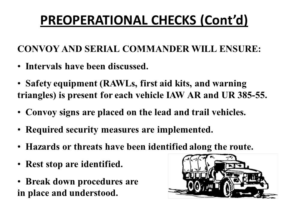 PREOPERATIONAL CHECKS (Cont'd)