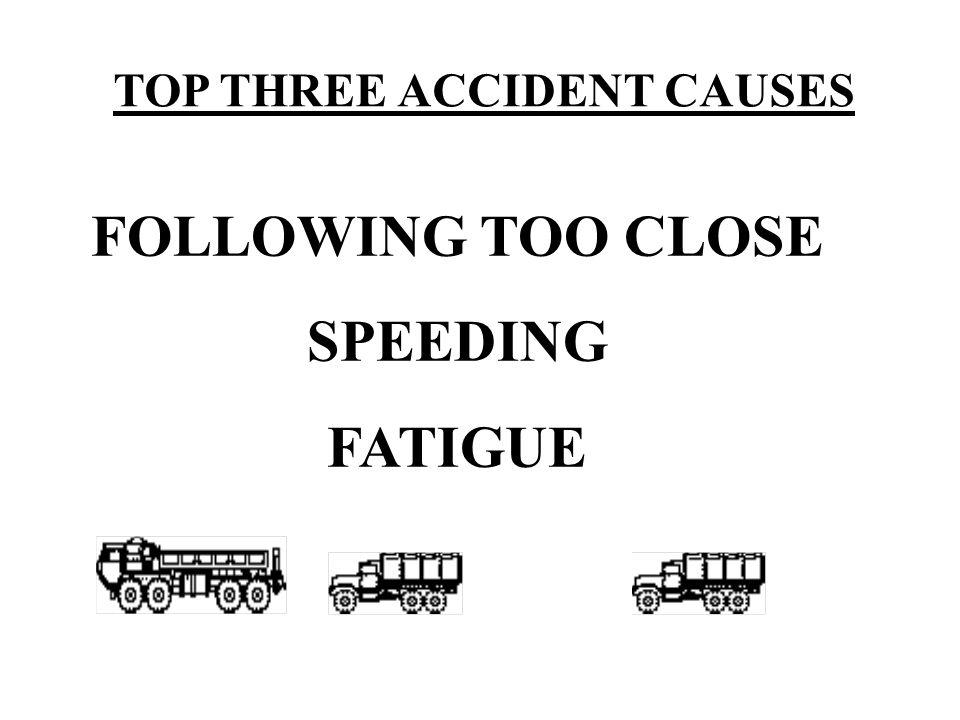 TOP THREE ACCIDENT CAUSES