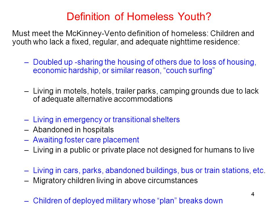 Definition of Homeless Youth