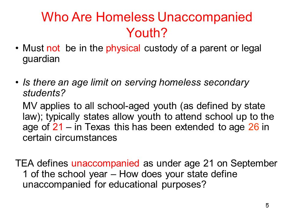 Who Are Homeless Unaccompanied Youth