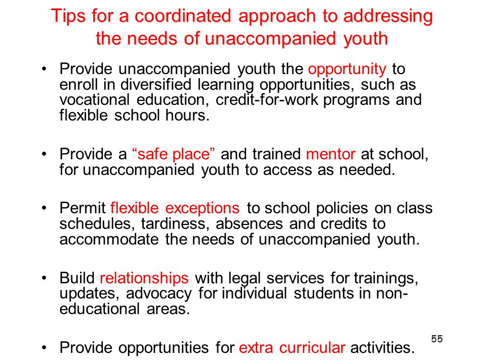 Tips for a coordinated approach to addressing the needs of unaccompanied youth