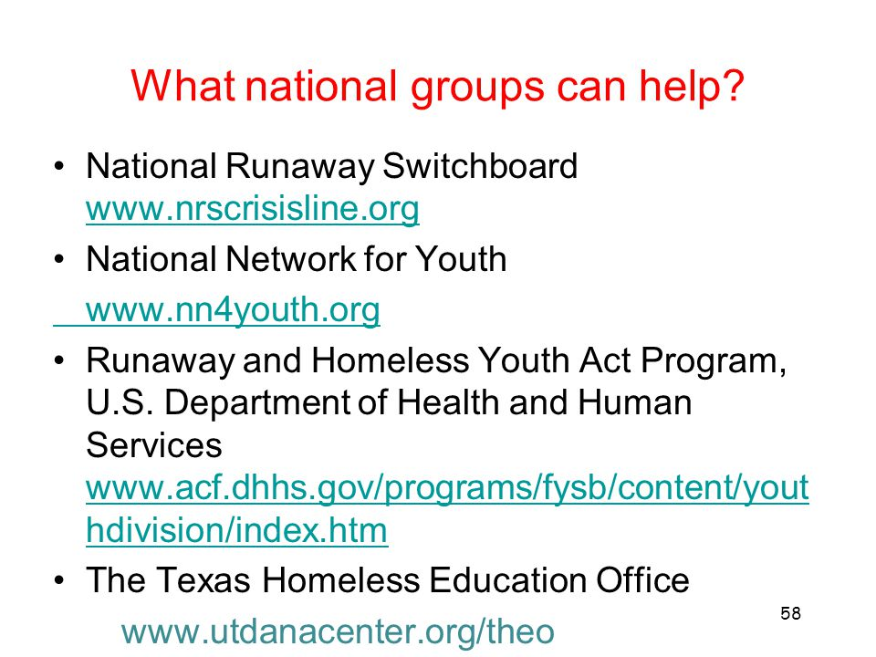 What national groups can help