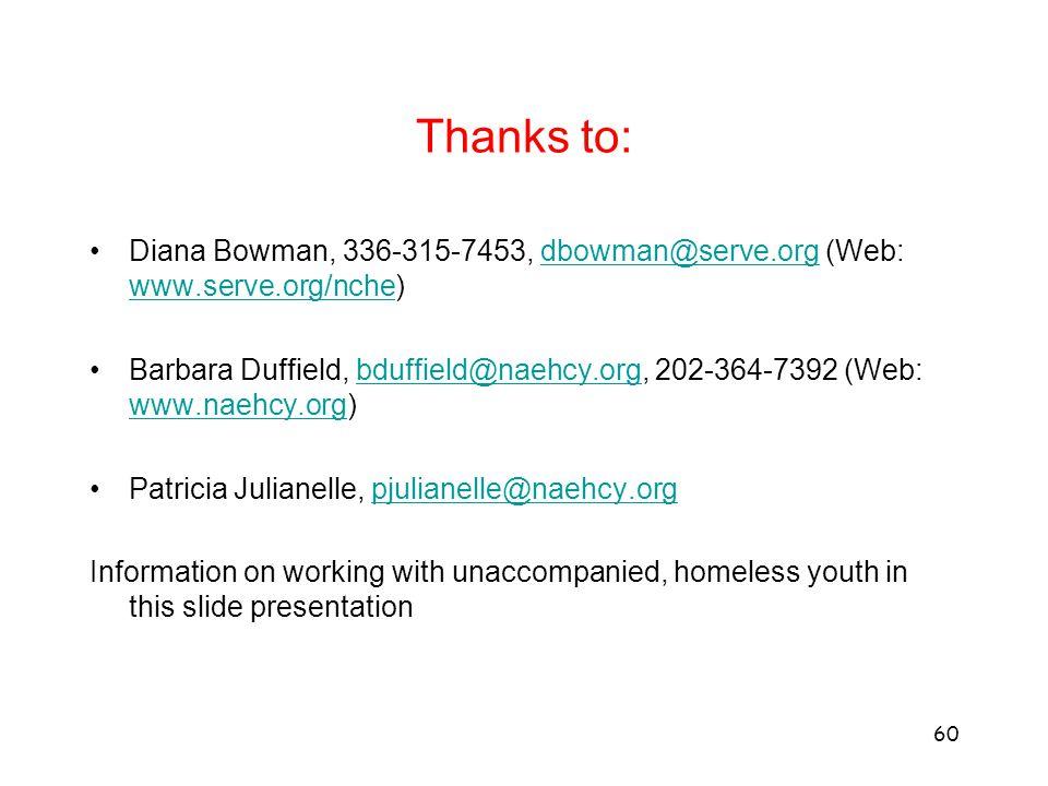 Thanks to: Diana Bowman, 336-315-7453, dbowman@serve.org (Web: www.serve.org/nche)