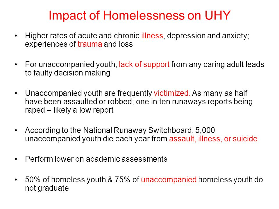Impact of Homelessness on UHY