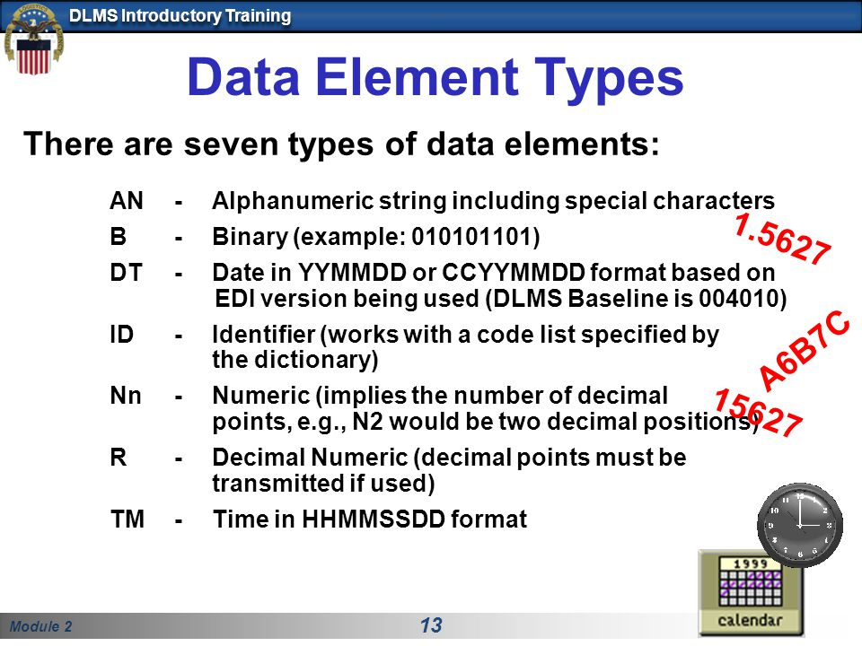 Data Element Types There are seven types of data elements: 1.5627