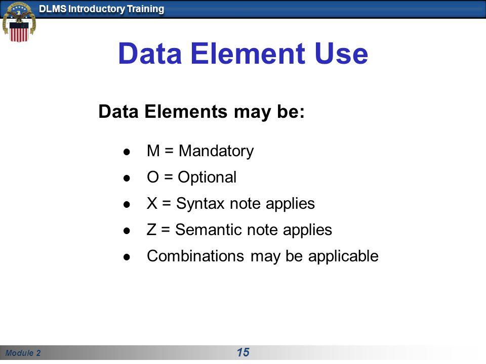 Data Element Use Data Elements may be: M = Mandatory O = Optional