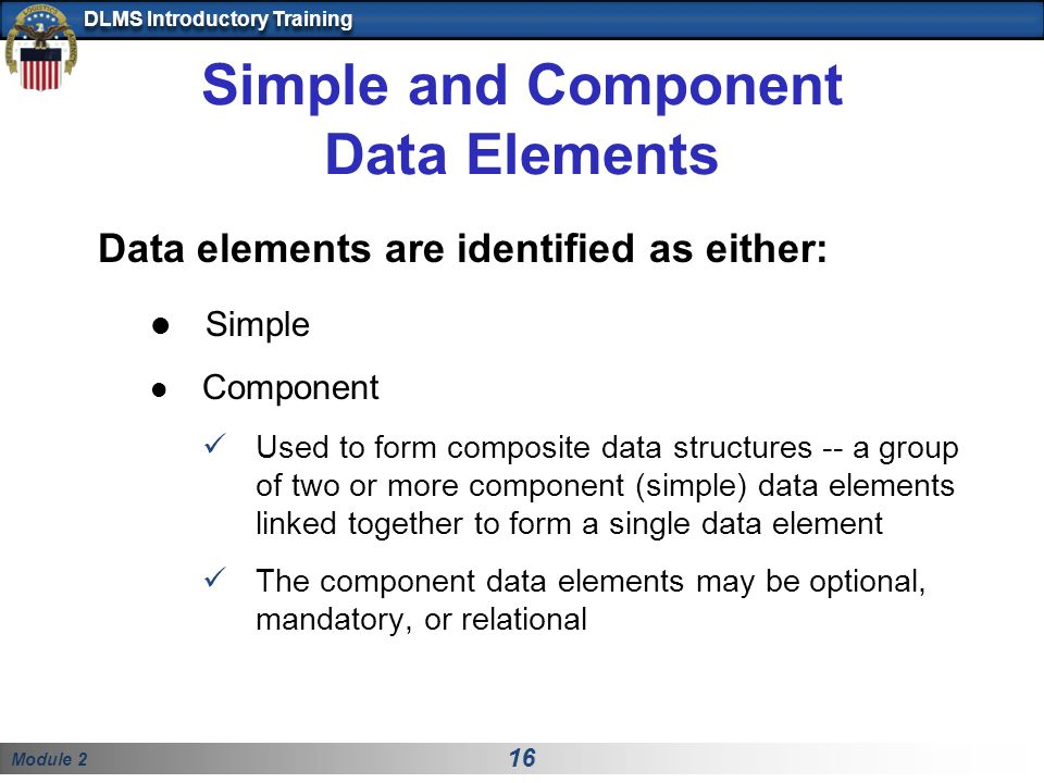 Simple and Component Data Elements