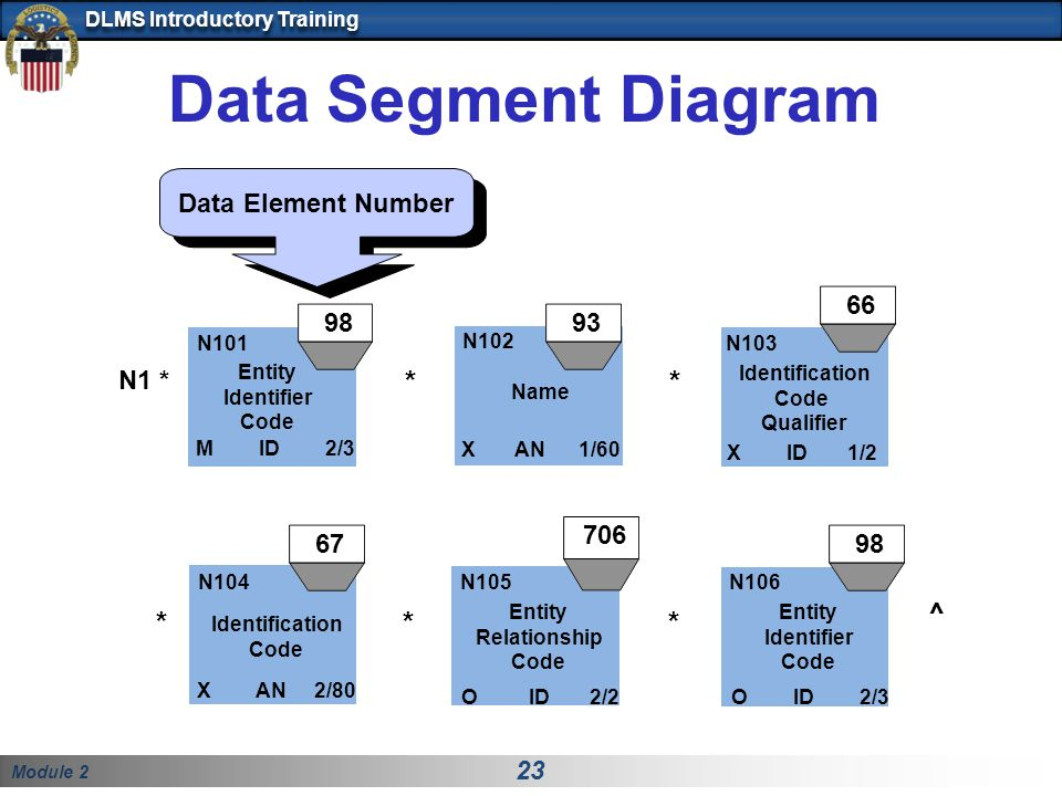 Data Segment Diagram * * * * * ^ Data Element Number 66 98 93 N1 * 706