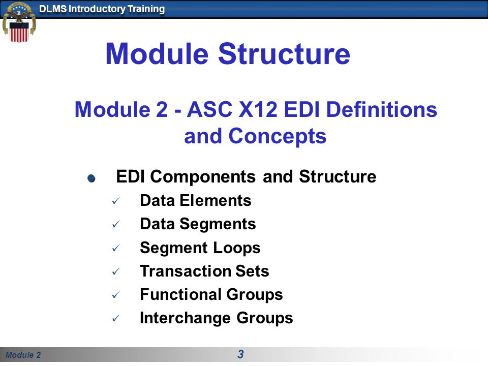 Module Structure Module 2 - ASC X12 EDI Definitions and Concepts