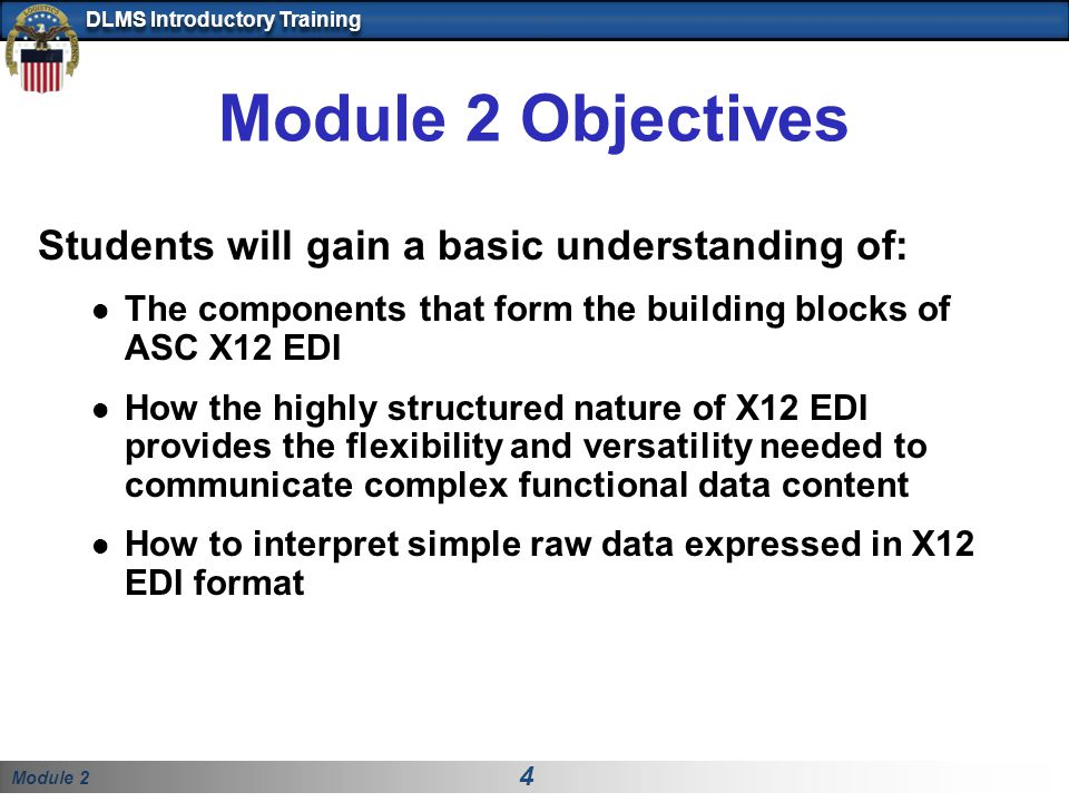 Module 2 Objectives Students will gain a basic understanding of: