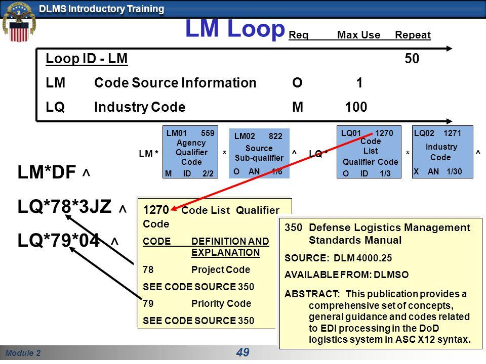 LM Loop LM*DF ^ LQ*78*3JZ LQ*79*04 Req Max Use Repeat Loop ID - LM 50