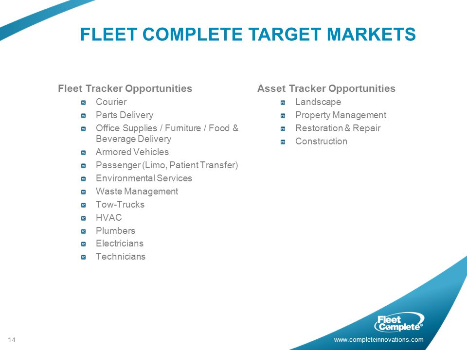 FLEET COMPLETE TARGET MARKETS