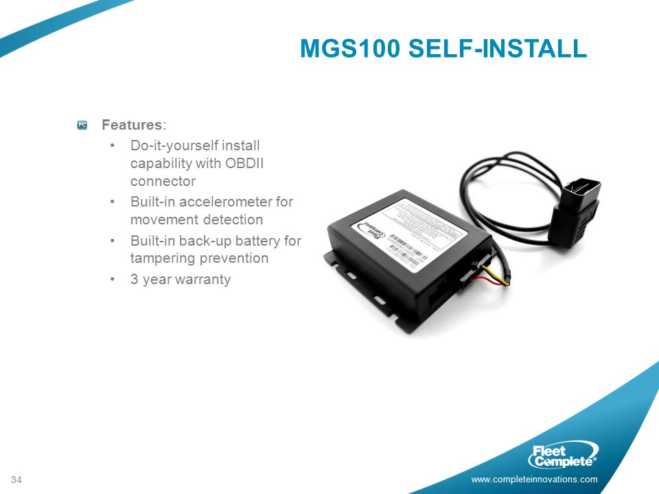 MGS100 SELF-INSTALL Features:
