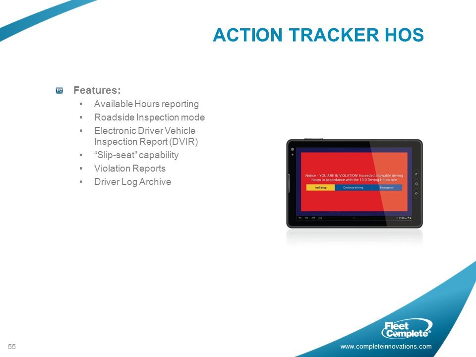 ACTION TRACKER HOS Features: Available Hours reporting