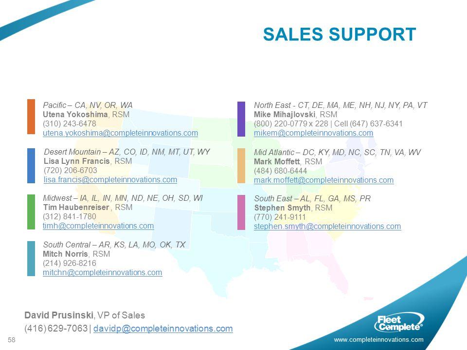 SALES SUPPORT David Prusinski, VP of Sales