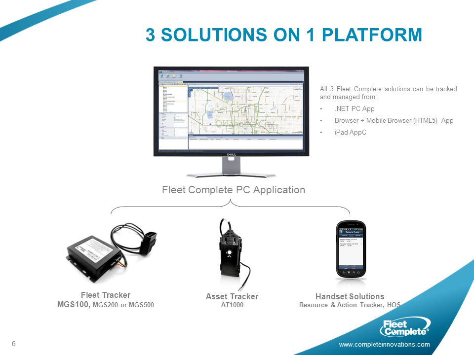 3 SOLUTIONS ON 1 PLATFORM Fleet Complete PC Application