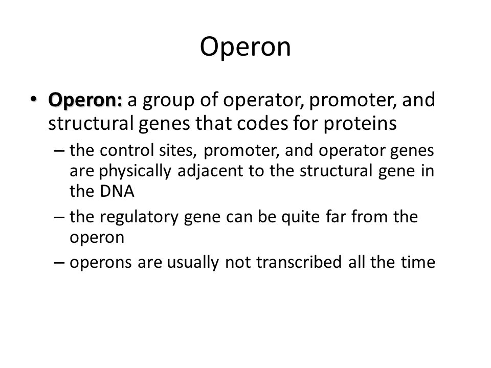 Operon Operon: a group of operator, promoter, and structural genes that codes for proteins.