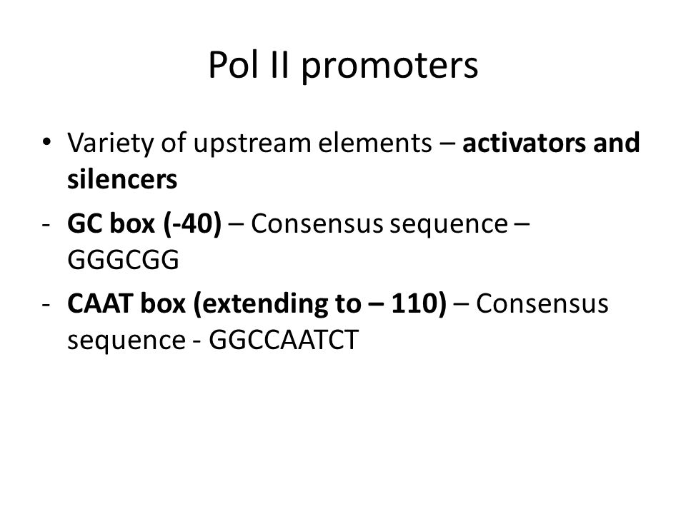 Pol II promoters Variety of upstream elements – activators and silencers. GC box (-40) – Consensus sequence – GGGCGG.