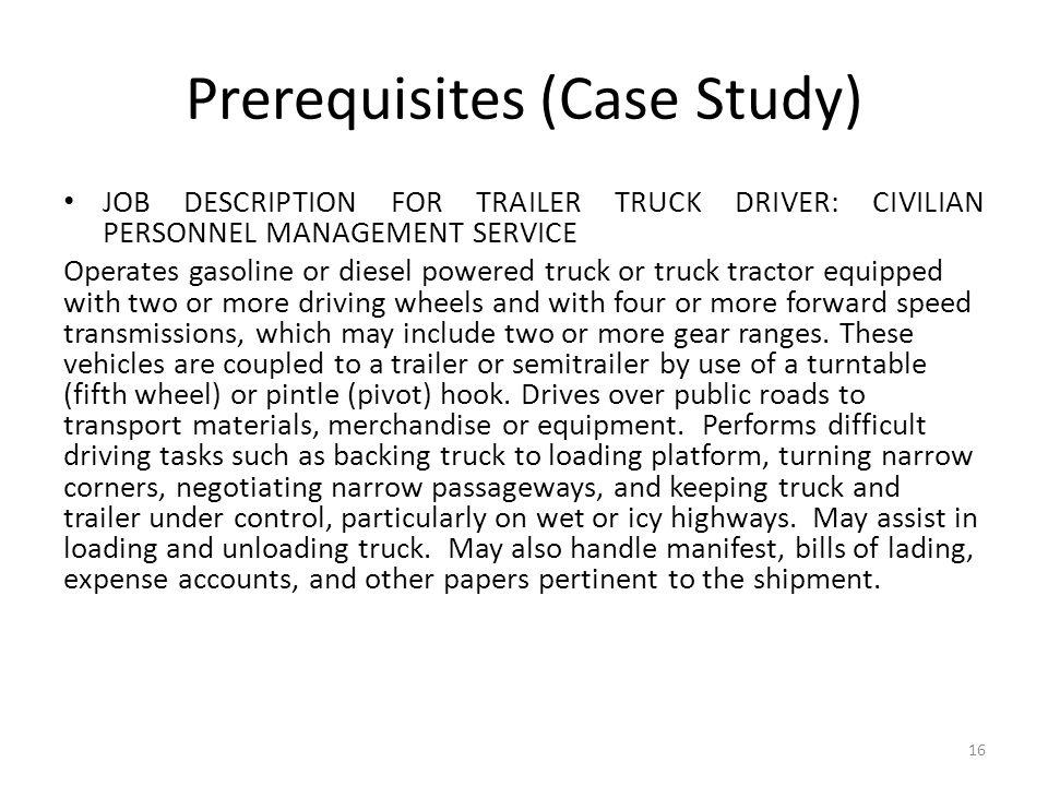 Prerequisites (Case Study)