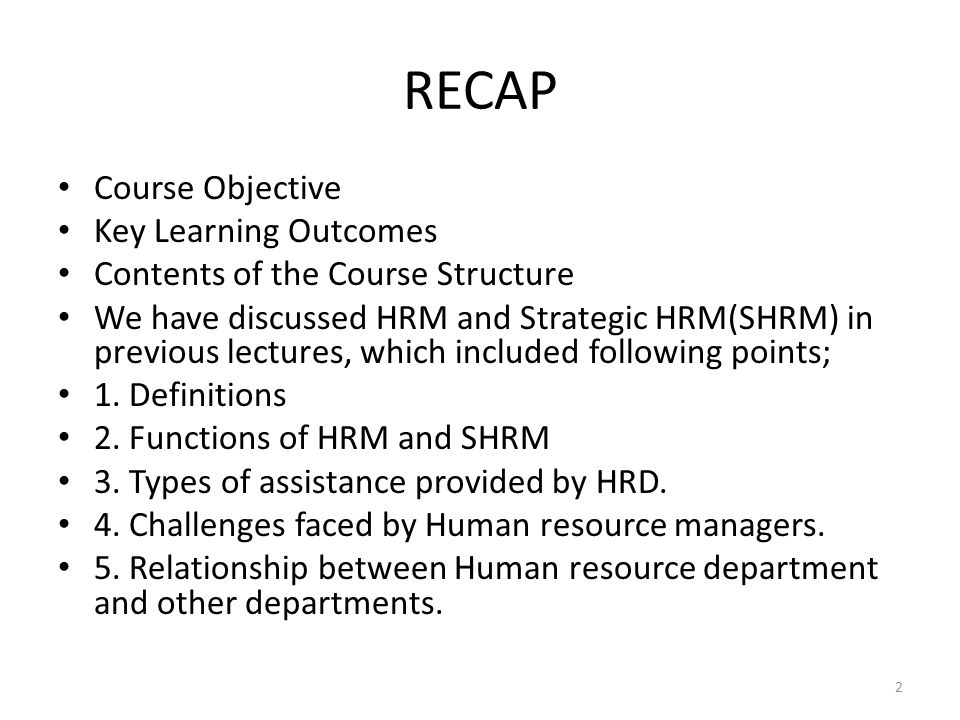 RECAP Course Objective Key Learning Outcomes