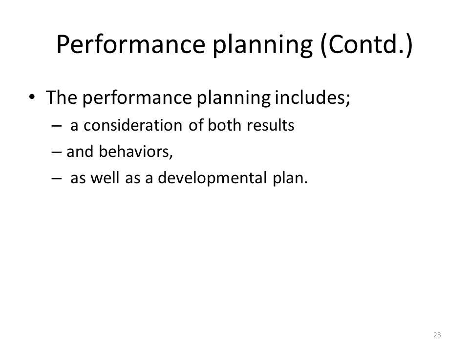 Performance planning (Contd.)