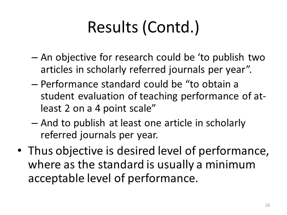 Results (Contd.) An objective for research could be 'to publish two articles in scholarly referred journals per year .