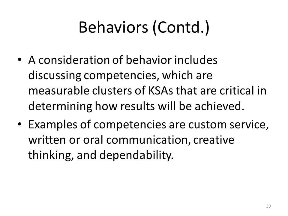 Behaviors (Contd.)