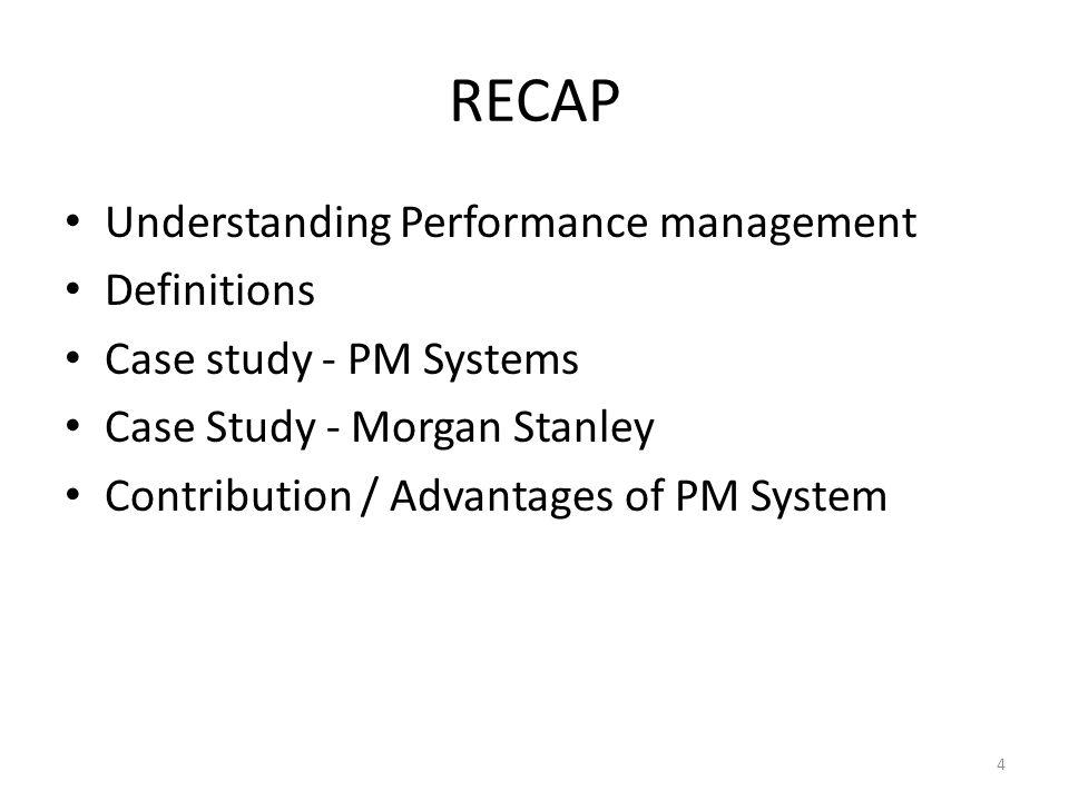 RECAP Understanding Performance management Definitions