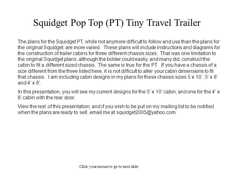 Squidget Pop Top (PT) Tiny Travel Trailer