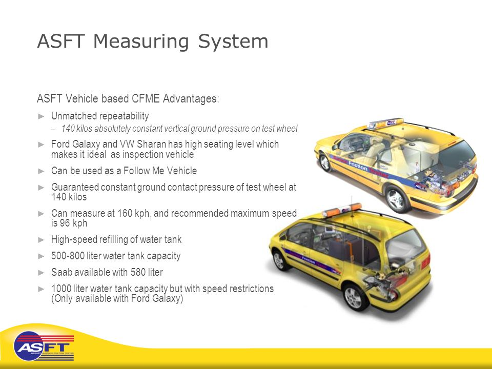 ASFT Measuring System ASFT Vehicle based CFME Advantages:
