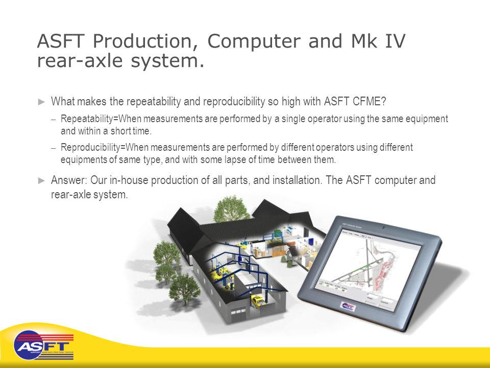 ASFT Production, Computer and Mk IV rear-axle system.