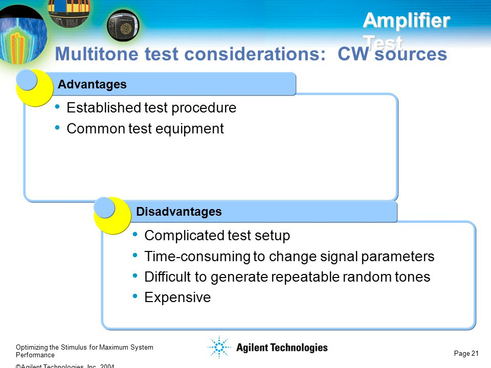 Multitone test considerations: CW sources