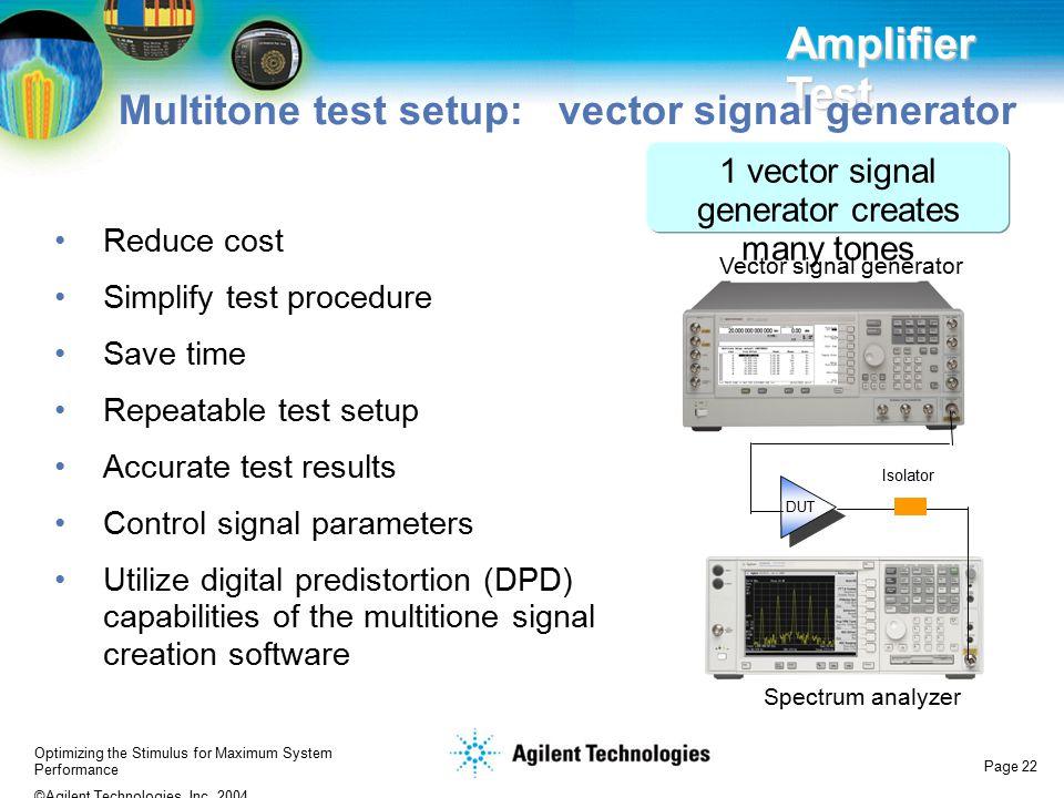 Multitone test setup: vector signal generator
