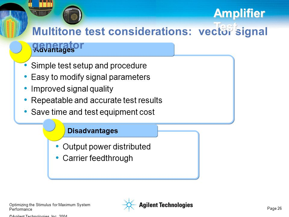 Multitone test considerations: vector signal generator