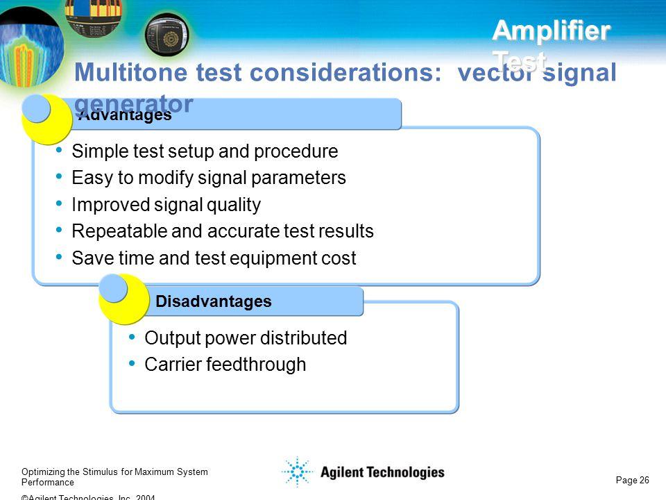 Multitone test considerations: vector signal generator