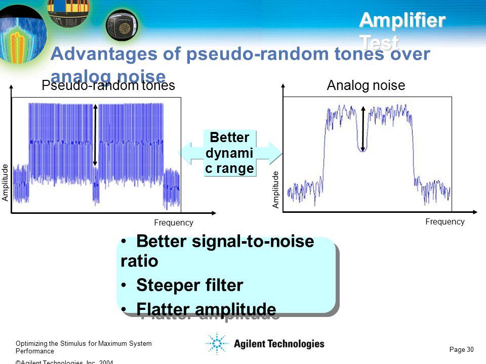 Advantages of pseudo-random tones over analog noise