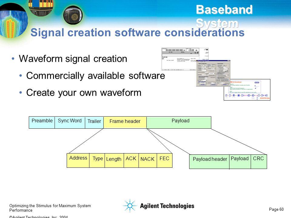 Baseband System Signal creation software considerations