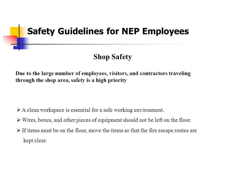 Safety Guidelines for NEP Employees