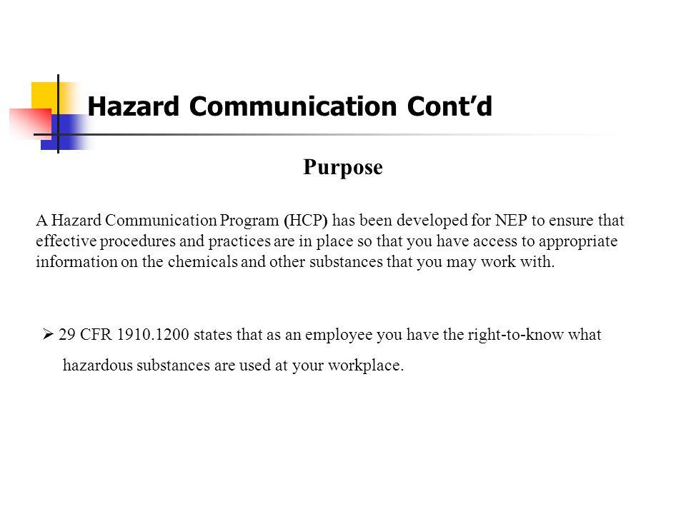 Hazard Communication Cont'd
