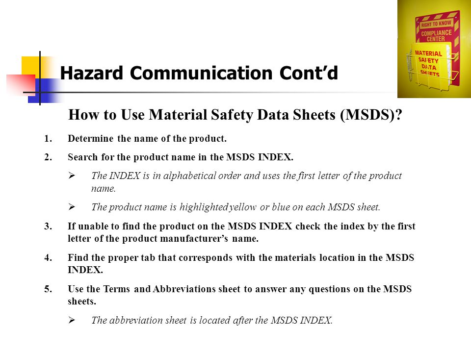 How to Use Material Safety Data Sheets (MSDS)