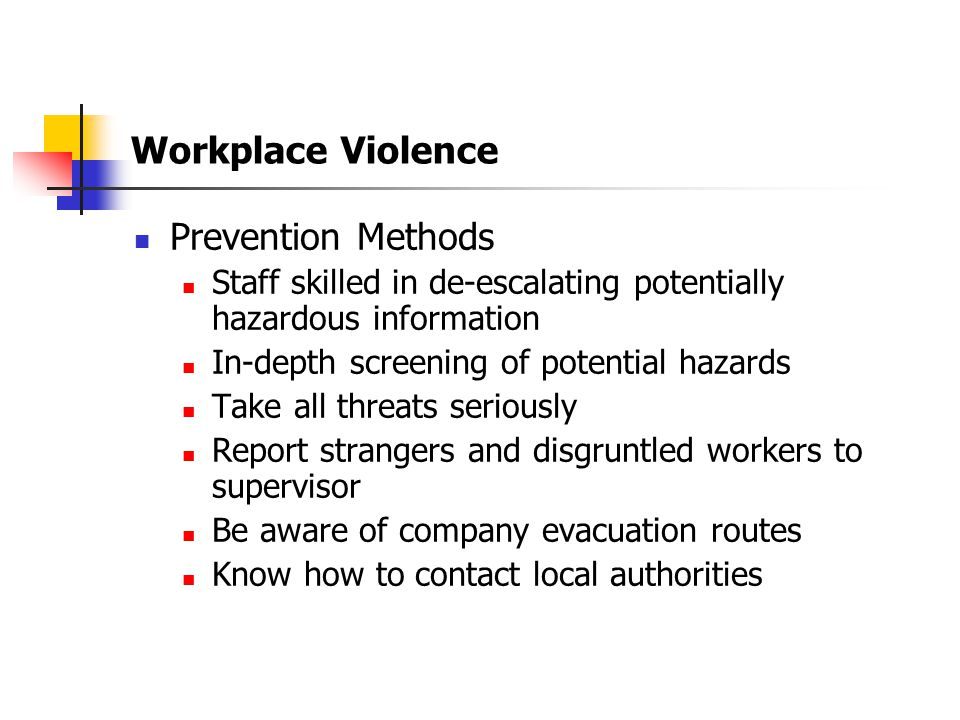 Workplace Violence Prevention Methods