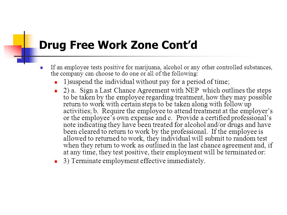 Drug Free Work Zone Cont'd