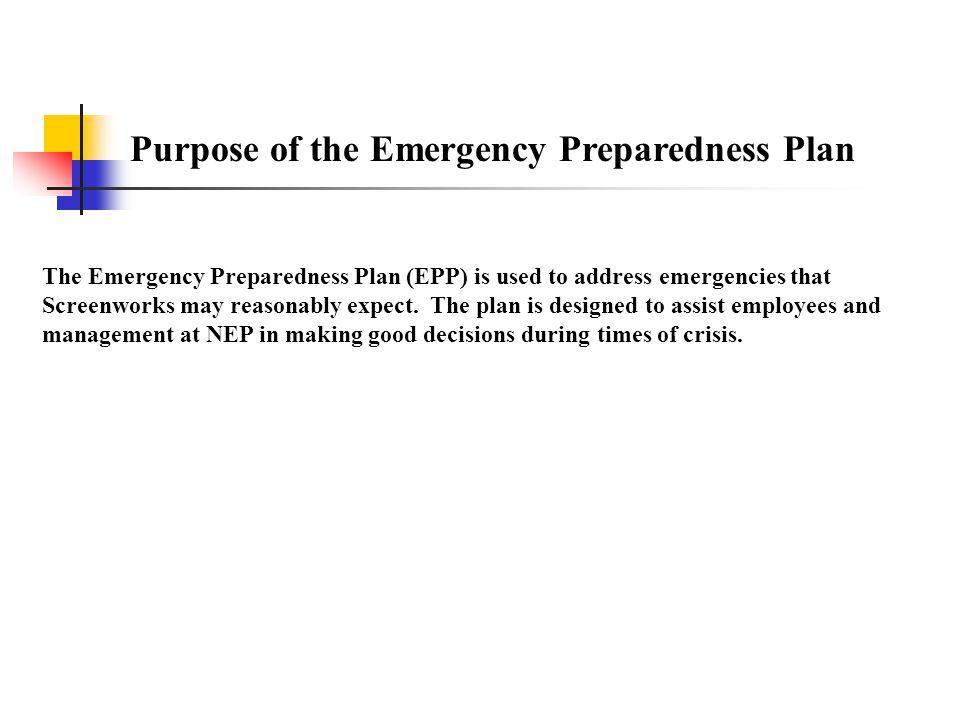 Purpose of the Emergency Preparedness Plan