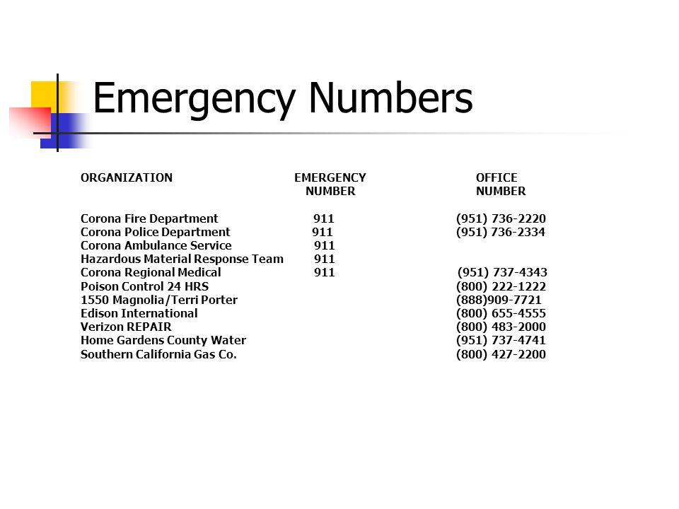 Emergency Numbers ORGANIZATION EMERGENCY OFFICE NUMBER NUMBER
