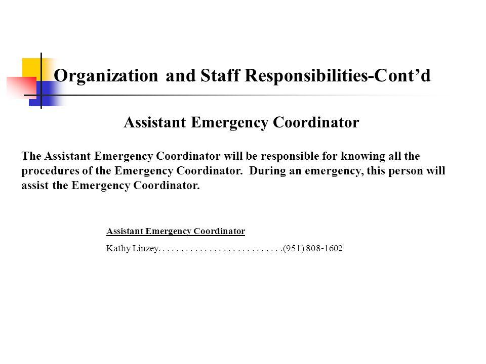 Assistant Emergency Coordinator