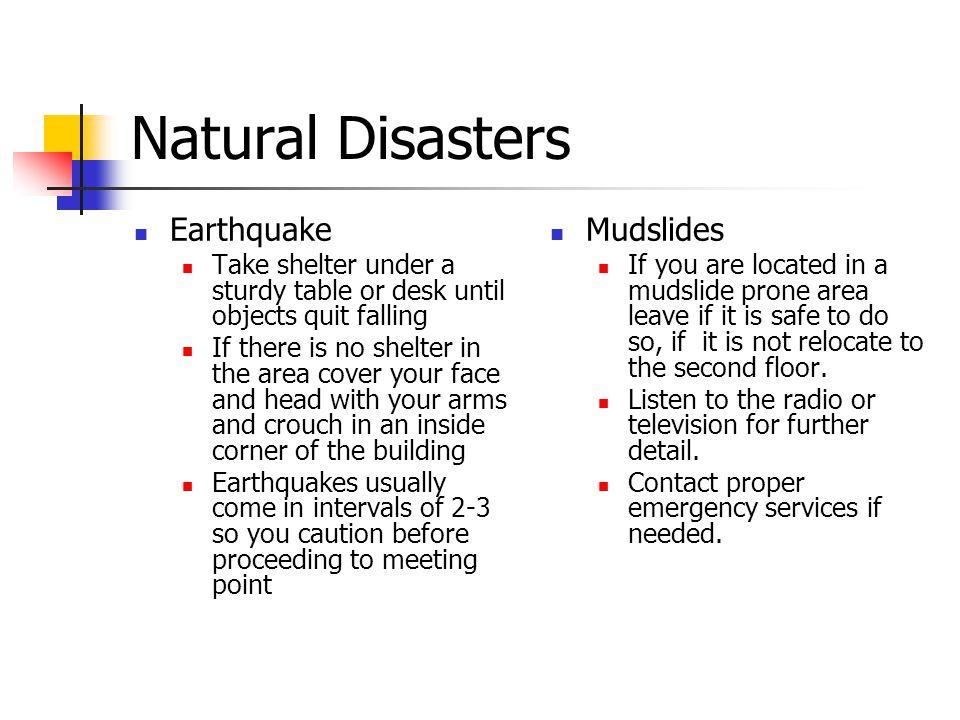 Natural Disasters Earthquake Mudslides